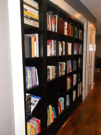 bookshelves filled